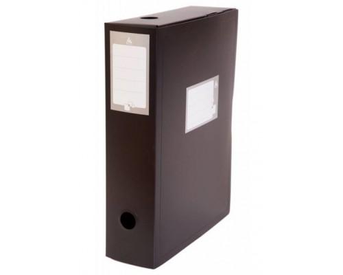 Короб архивный 100мм Бюрократ пластик 0,8мм вырубн.застежка черный BA100/08BLCK