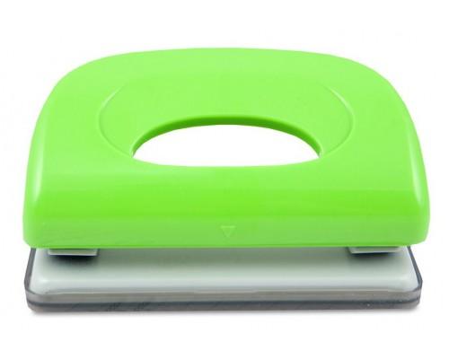 Дырокол KW-trio на 10 листов Dolphin пластик зеленый с линейкой 091X9