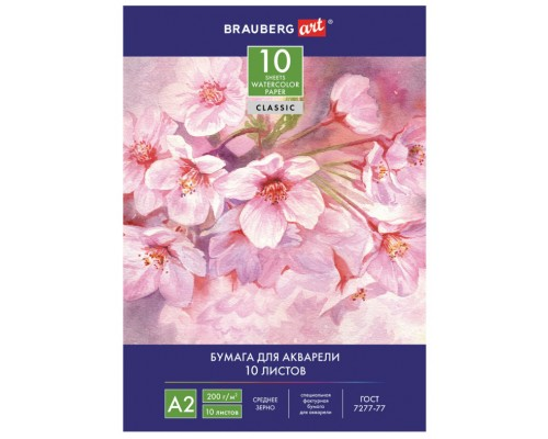 Акварельная бумага А2 10л 200г/м2 Brauberg