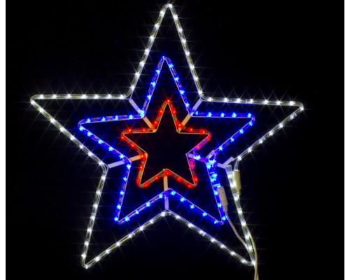 Гирлянда В Звезда 3 контура Дюралайт 65см бел-син-крас контроллер IP65 346