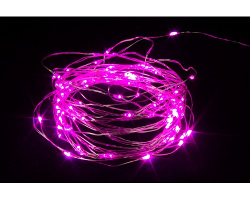 Гирлянда В 100 led шнурок розовый Роса 10м на батарейках вн.помещения пр.пр IP20 595