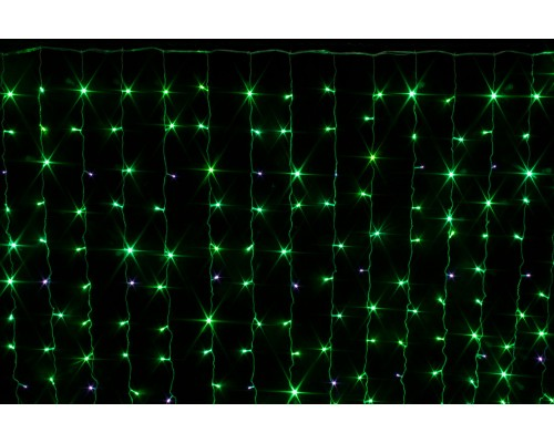 Гирлянда В 240 led занавес зеленый flash-w внутри помещения прозр.пр 2*2 соед. IP20 573