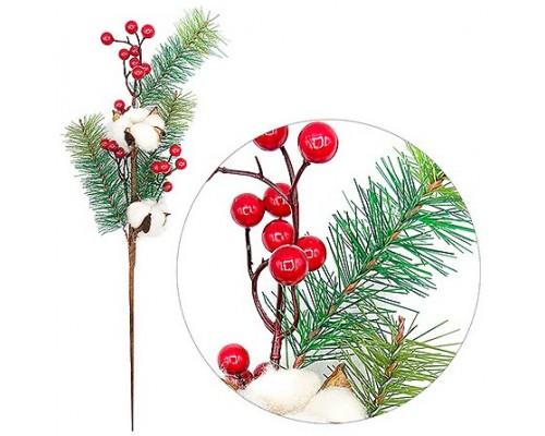 Ветка новогодняя 57см с ягодами и хлопком Kwelt К-07126