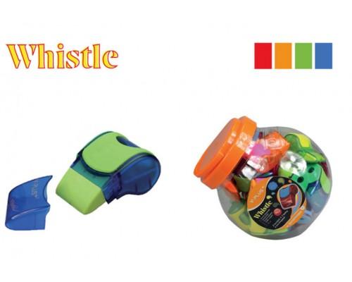 Точилка Y-Plus Whistle 3 в 1 1отв пластик с контейнером с ластиком SX090410