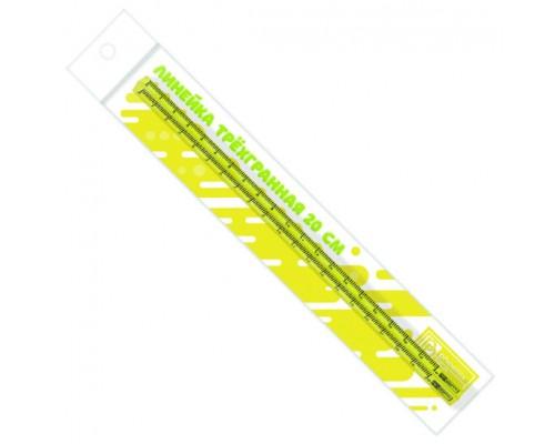 Линейка 20см Феникс трехгранная желтая 53115