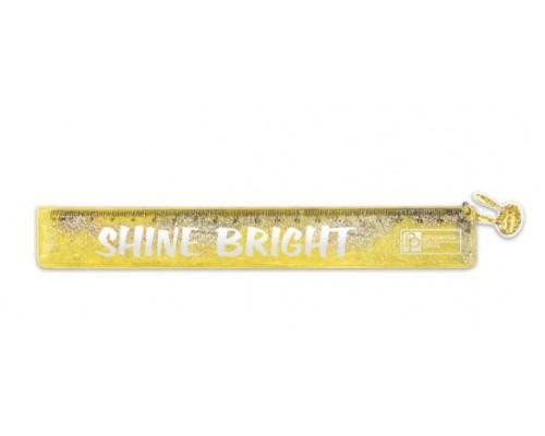 Линейка 20см Феникс Желтая пластик с глиттером 52646