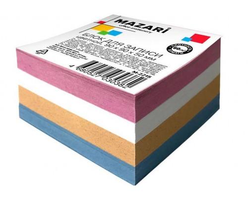 Блок бумаги Mazari 90*90*50л цветной М-2215
