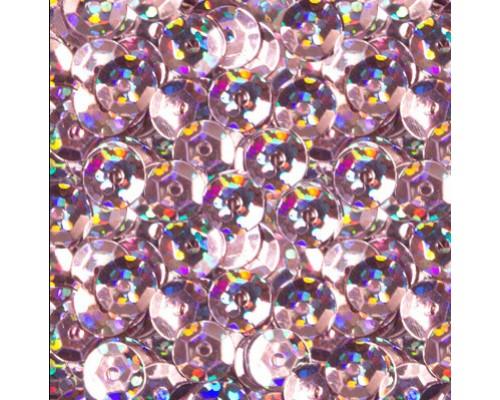 Пайетки Zlatka 10г 6мм светло-сиреневый голограф эффект
