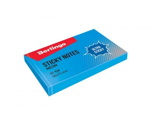 Бумага с клеевым краем Berlingo 50*75 80л Ultra Sticky неон синий
