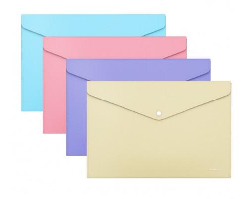 Папка-конверт А4 ЕК Diagonal Pastel непрозр ассорти 180мкм 50322