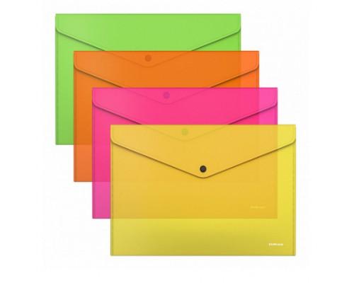 Папка-конверт А4 ЕК Glossy Neon 0,18мм полупроз ассорти 50300