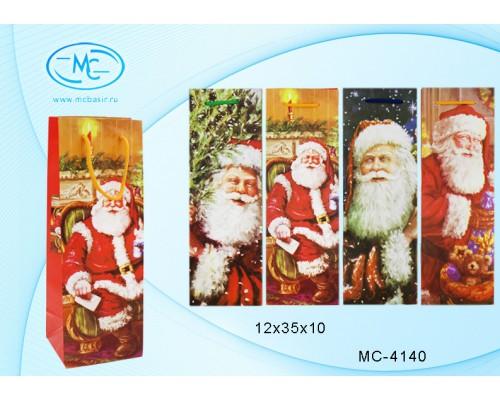 Пакет подарочный Basir 12*35*10см для бутылок Дед Мороз ассорти матовый МС-4140