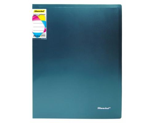 Папка 40 файлов Silwerhof Perlen 0,8мм зеленый металлик с карманом 292941-75