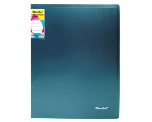 Папка 20 файлов Silwerhof Perlen 0,8мм зеленый металлик с карманом 292921-75