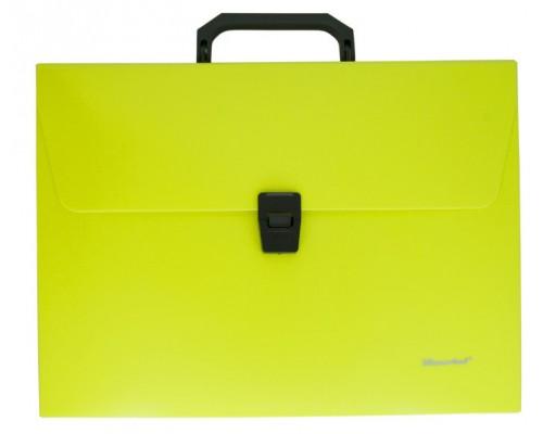 Папка-портфель Silwerhof А4 1отд пластик неон желтый 322715-02