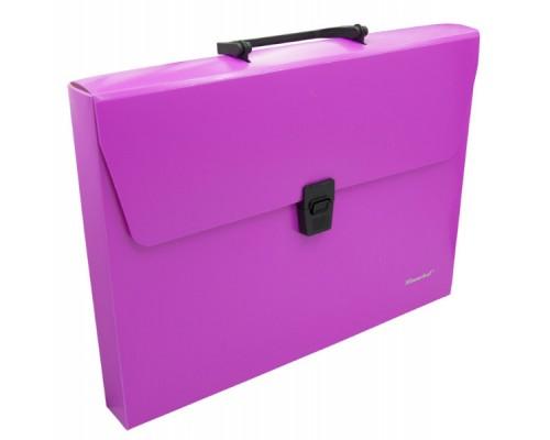 Папка-портфель Silwerhof А4 1отд пластик неон розовый 322715-03
