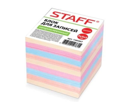 Блок бумаги Staff 9*9*9л непроклеенный цветной