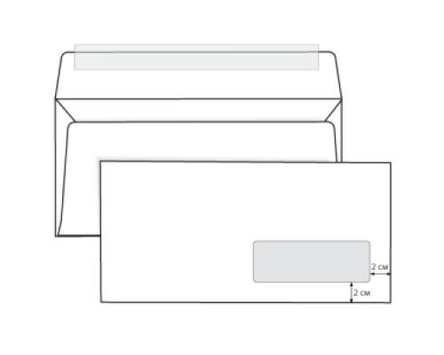 Конверт 110х220мм евро белый отрыв.лента правое окно