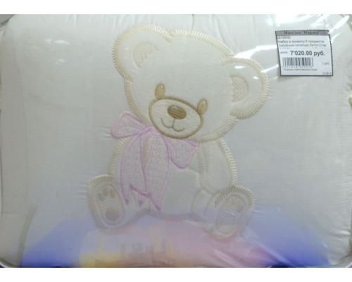 Комплект в кроватку 6 предметов Забавные петельки Литтл Стар (V17 Мишутка розовый бант)