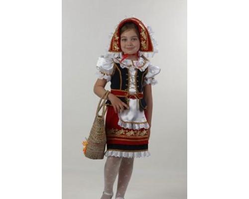 Костюм Красная шапочка (блуза,жилет,юбка,фартук,шапочка) р.32 Батик 945