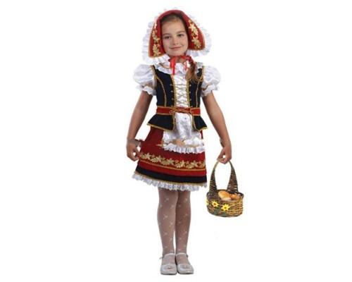 Костюм Красная шапочка (блуза,жилет,юбка,фартук,шапочка) р.30 Батик 945