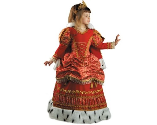Костюм Царица (платье,мантик,подъюбник,корона) р.34 Батик 939