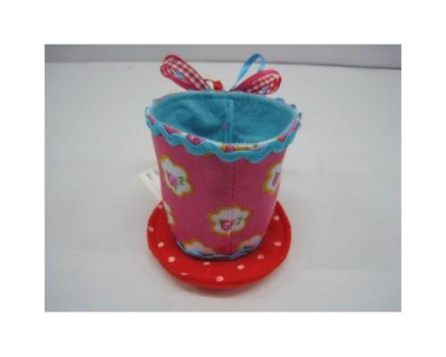 Ёлочные украшения Чашка с тарелкой 8см фуксия/гол ткань 25370 Маджик Тайм