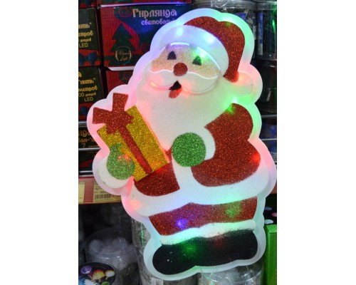 Гирлянда В Дед Мороз с подарком пластик 2D 37*25см 260