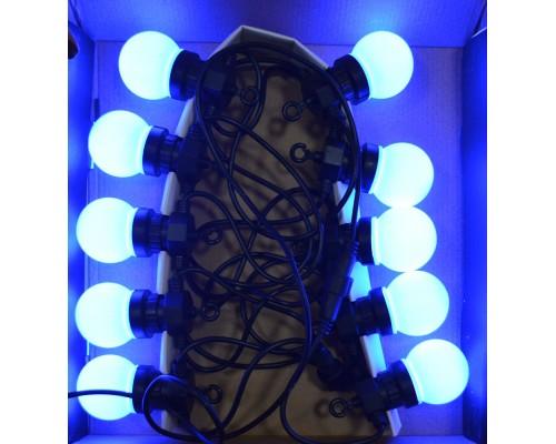 Гирлянда В 10 led шнурок шар 4,5см синий пр.черный каучук 3,5м 270