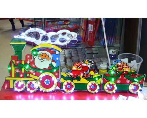 Гирлянда Панно Санта Клаус на поезде 102 л 693-32С