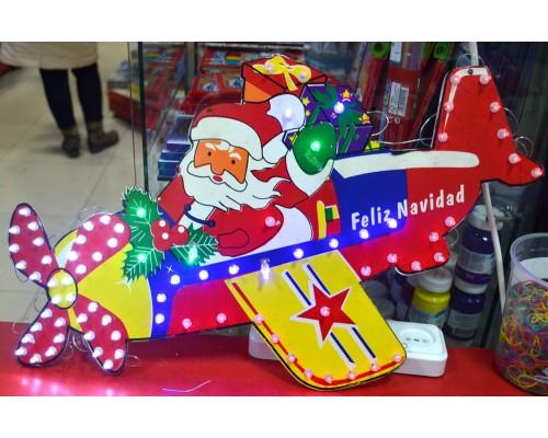 Гирлянда Панно Санта Клаус на самолёте 80 л 683-31С