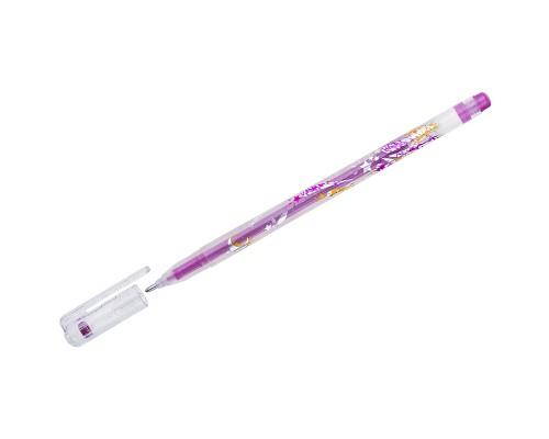 Ручка гелевая Crown Люрекс 1мм розовая