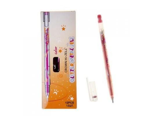 Ручка гелевая Crown Люрекс 1мм красная