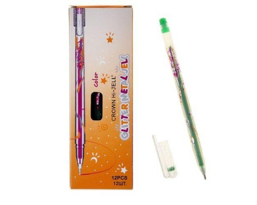 Ручка гелевая Crown Люрекс 1мм светло-зеленая