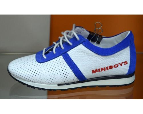 Кроссовки д/мал белый/голубой кожа Мини Бойс (32)