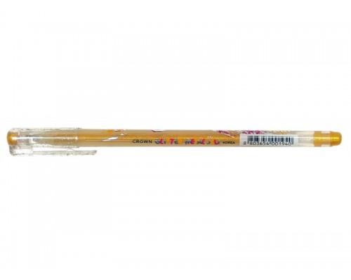 Ручка гелевая Crown Люрекс 1мм золото