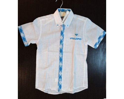 Рубашка д/мал лён бело-голуб 92р