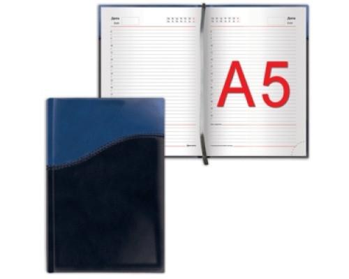 Ежедневник Brauberg недатир А5 138*213мм Bond под комбинир.кожу с волной 160л синий/голубой 126220
