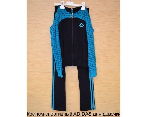 Костюм спортивный д/дев ADIDAS р11-12 чер/бирюз
