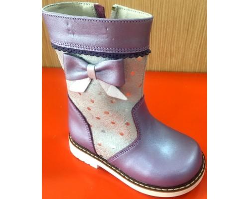 Полусапоги д/дев фиолетовый серебристый кожа (24) Вупи