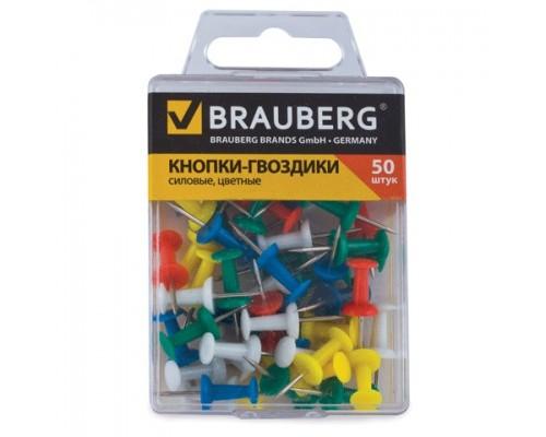 Кнопки-гвоздики Brauberg 50шт цветные 220557
