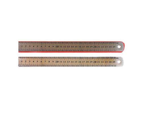 Линейка 25см Kwelt металл двойная шкала К-7815