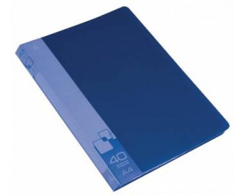 Папка 40 файлов Бюрократ А4 синяя пластик 0,65мм PV40/BPV40bl