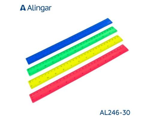 Линейка 30см AL246 пластик цветная
