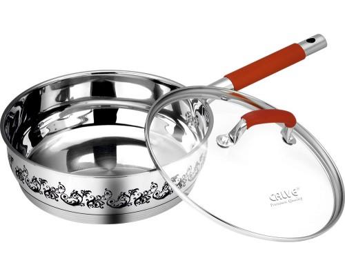 Сковорода 24см Calve нерж 3,4л термосенсор ст.кр мет+силик.руч CL-1886