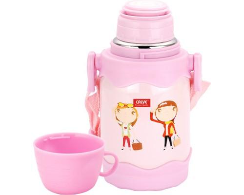Термос Calve нерж 0,4л кнопка для подачи воды детский + кружка CL-1727