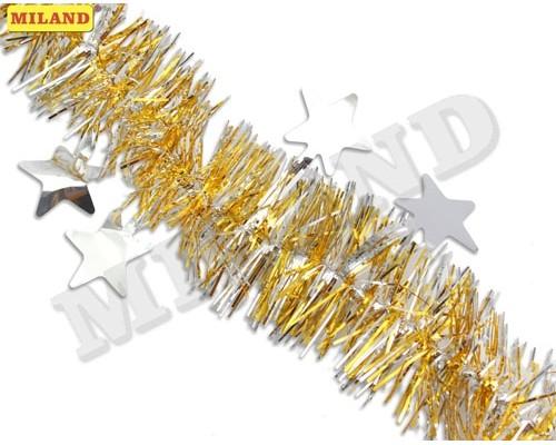 Мишура Миленд Яркие звезды золотая с серебряными звездами НУ-6518