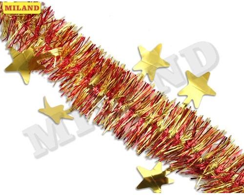 Мишура Миленд Яркие звезды красная с золотыми звездами НУ-6517